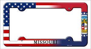 Missouri|American Flag Wholesale Novelty Metal License Plate Frame