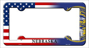 Nebraska|American Flag Wholesale Novelty Metal License Plate Frame