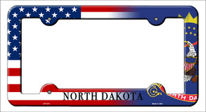 North Dakota|American Flag Wholesale Novelty Metal License Plate Frame