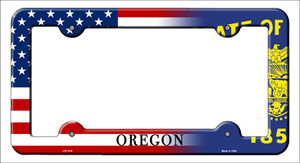 Oregon|American Flag Wholesale Novelty Metal License Plate Frame