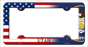 Utah|American Flag Wholesale Novelty Metal License Plate Frame