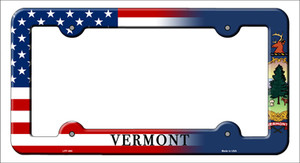 Vermont|American Flag Wholesale Novelty Metal License Plate Frame