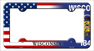 Wisconsin|American Flag Wholesale Novelty Metal License Plate Frame