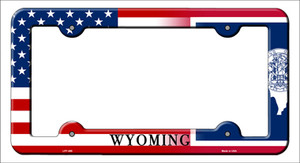 Wyoming|American Flag Wholesale Novelty Metal License Plate Frame