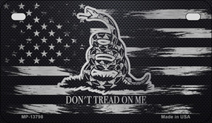 Dont Tread On Me Distressed Flag Wholesale Novelty Metal Motorcycle Plate