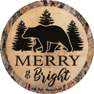 Merry and Bright Bear Wholesale Novelty Metal Mini Circle Magnet