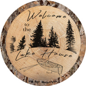 Welcome to the Lake House Wholesale Novelty Metal Mini Circle Magnet