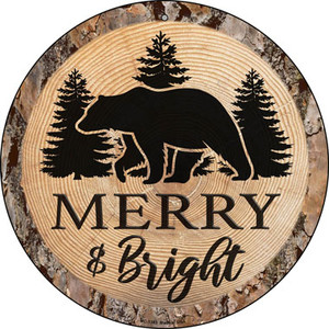 Merry and Bright Bear Wholesale Novelty Small Metal Circular Sign