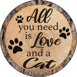 Love and a Cat Wholesale Novelty Small Metal Circular Sign