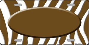 Brown White Zebra Pattern With Center Oval Wholesale Metal Novelty License Plate LP-1390