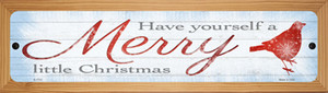 Merry Little Christmas Wholesale Novelty Wood Mounted Small Metal Street Sign