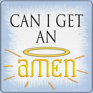 Can I Get an Amen Wholesale Novelty Mini Metal Square Sign