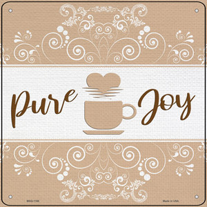 Coffee Pure Joy Wholesale Novelty Mini Metal Square Sign