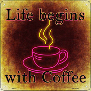 Life Begins with Coffee Wholesale Novelty Mini Metal Square Sign
