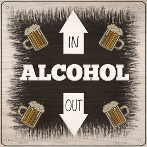 Alcohol In and Out Wholesale Novelty Mini Metal Square Sign