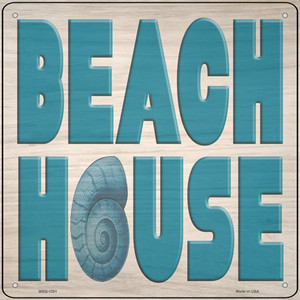 Beach House Seashell Wholesale Novelty Mini Metal Square Sign