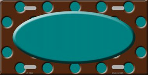 Teal Brown Polka Dot Pattern With Center Oval Wholesale Metal Novelty License Plate LP-1392