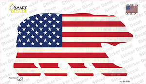 American Flag Wholesale Novelty Bear Sticker Decal