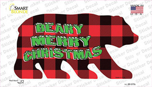 Beary Merry Christmas Red Wholesale Novelty Bear Sticker Decal