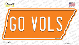 Go Vols Wholesale Novelty Tennessee Shape Sticker Decal