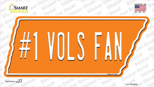 Number 1 Vols Fan Wholesale Novelty Tennessee Shape Sticker Decal