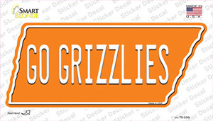 Go Grizzlies Wholesale Novelty Tennessee Shape Sticker Decal