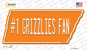 Number 1 Grizzlies Fan Wholesale Novelty Tennessee Shape Sticker Decal