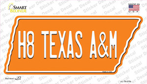 H8 Texas A&M Wholesale Novelty Tennessee Shape Sticker Decal