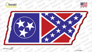 Tennessee Confederate Flag Wholesale Novelty Tennessee Shape Sticker Decal