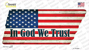 In God We Trust American Flag Wholesale Novelty Tennessee Shape Sticker Decal