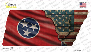 Tennessee American Flag Wholesale Novelty Tennessee Shape Sticker Decal