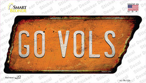 Go Vols Wholesale Novelty Rusty Tennessee Shape Sticker Decal