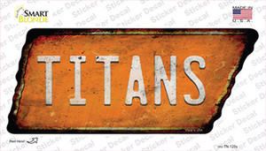 Titans Wholesale Novelty Rusty Tennessee Shape Sticker Decal