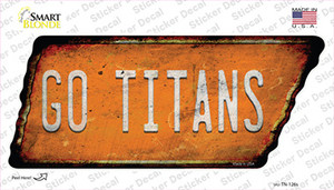 Go Titans Wholesale Novelty Rusty Tennessee Shape Sticker Decal
