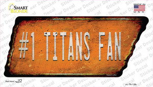 Number 1 Titans Fan Wholesale Novelty Rusty Tennessee Shape Sticker Decal