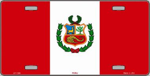 Peru Flag Wholesale Metal Novelty License Plate LP-1399