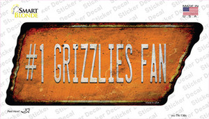 Number 1 Grizzlies Fan Wholesale Novelty Rusty Tennessee Shape Sticker Decal