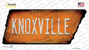 Knoxville Wholesale Novelty Rusty Tennessee Shape Sticker Decal