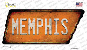 Memphis Wholesale Novelty Rusty Tennessee Shape Sticker Decal
