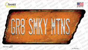 Gr8 Smky Mtns Wholesale Novelty Rusty Tennessee Shape Sticker Decal