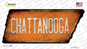 Chattanooga Wholesale Novelty Rusty Tennessee Shape Sticker Decal