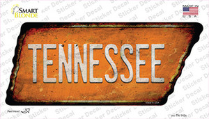 Tennessee Wholesale Novelty Rusty Tennessee Shape Sticker Decal