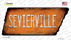 Sevierville Wholesale Novelty Rusty Tennessee Shape Sticker Decal