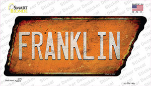 Franklin Wholesale Novelty Rusty Tennessee Shape Sticker Decal