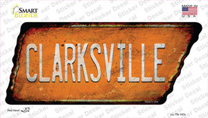 Clarksville Wholesale Novelty Rusty Tennessee Shape Sticker Decal