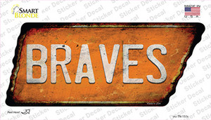 Braves Wholesale Novelty Rusty Tennessee Shape Sticker Decal