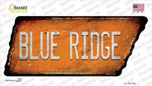 Blue Ridge Wholesale Novelty Rusty Tennessee Shape Sticker Decal