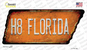 H8 Florida Wholesale Novelty Rusty Tennessee Shape Sticker Decal