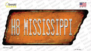 H8 Mississippi Wholesale Novelty Rusty Tennessee Shape Sticker Decal