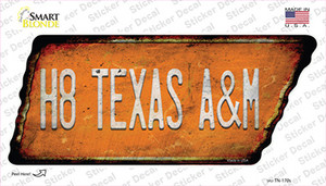 H8 Texas A&M Wholesale Novelty Rusty Tennessee Shape Sticker Decal